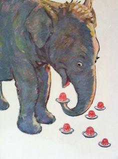 Happy Elephant 1954 General Foods Corp Jello Lithograph/Happy Elephant Jello Print/Poster/Elephant Wall Art on Etsy, $125.00