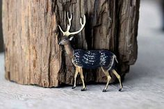 Deer Brooch:  Stag with Antlers Pin  by MySelvagedLife on Etsy