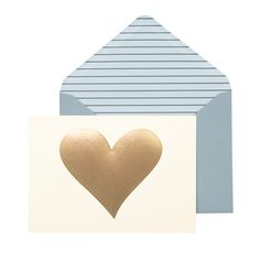 Gold Heart Notecard Set by Portico Designs