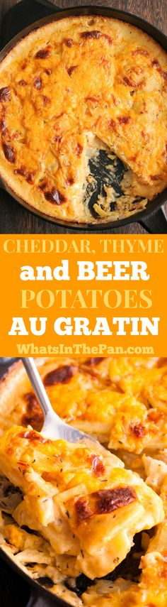 Cheddar, Thyme and Beer Potatoes au gratin #scallopedpotatoes #holidays #sides