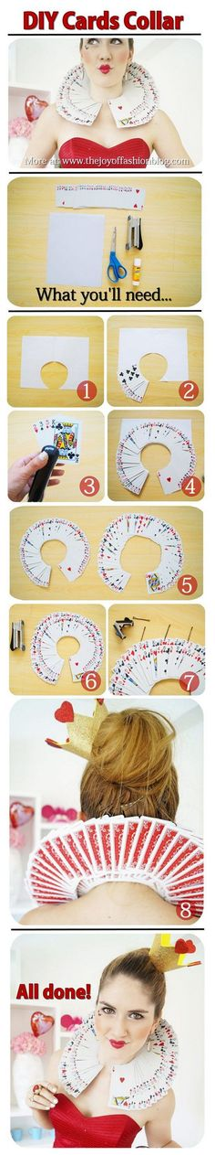 DIY Queen of Hearts Card Collar Tutorial.