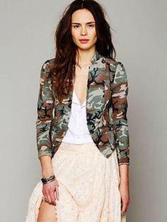 Free People Army Green Khaki Camouflage Military Fitted Jacket Blazer Size 0 | eBay