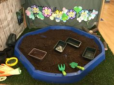 Rainbow garden. Set up for children to explore outside textures and also explorative play.