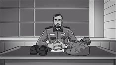 Brother enters and sees his personal belongings on the desk as the prison clerk stares at him. _  Storyboards by storyboard artist Cuong Huynh. Got A Script? I'll Storyboard It. #prison #officer #uniform #sit #sitting #desk #office #waiting #look #stare #looking #serious #storyboard #artist #storyboarding #storyboards #drawing #drawings #films #filmdirector #director #filmcrew #filmmaking #filmmaker #preproduction #conceptart #filmproduction #illustrator #illustration #blackandwhite