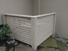 Hide that air conditioner. a clear-grade cedar stained in a Cape Cod grey Air Conditioner Cover Outdoor, Air Conditioner Screen, Pool Equipment Enclosure, Pool Equipment Cover, Ac Unit Cover, Ac Cover, Backyard Patio, Backyard Landscaping, Backyard Ideas