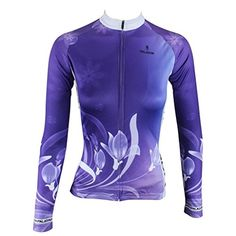 23f02dc0f QinYing Women Lily Flowers Breathable Cycling Bike Jersey Long Sleeve XS    You can find out