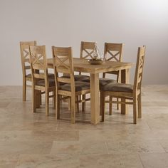 Coastal French Washed Solid Oak 5ft X 3ft Extending Dining Table 6 Chairs