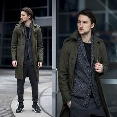Olive Green Trench and Merled Sweater, Urban Street Style, Men's Fall Winter Fashion.
