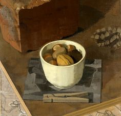 """Susan Jane Walp Nuts in a White Cup with Brick, Pine Cone, Xerox and Clothespin 2008 oil on linen  7 3/16 x 8"""""""