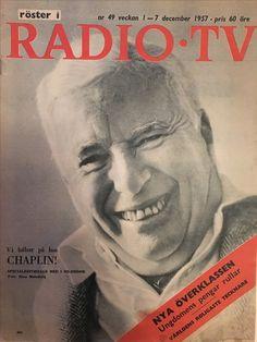 Charlie Chaplin front cover, swedish interview December 1957. RadioTv.