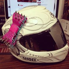 """Sadie from Texas representing the LuckyYogi helmet bow in """"unpredictable"""" hot pink with silver spikes. More pics to come from her. She's getting her bike painted! So stoked for her! Hashtag your photos #theluckyyogi #helmetbow #helmetbows to be featured!"""