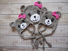 Crochet teddy bear Hat Newborn bear hat Baby por KnitAndCrochetLAND