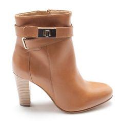 Boots cuir à talon à fermeture sac femme - Marron clair- Vue 1