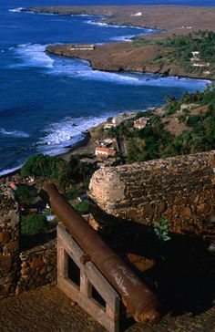 The stalwart ramparts of the 16th century Fort Real do Sao Felipe. The fort is located in the ruined town of Cidade Velha (old town). Cape Verde