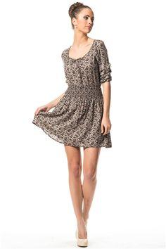 İroni Beli Lastikli Emprime Mini Elbise