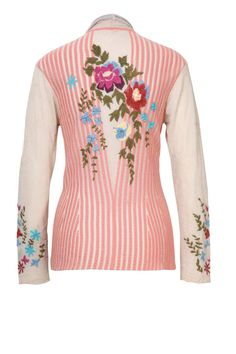 Slim-fit cardigan with floral embroidery and stripes, fastened by ribbons with wooden pendants. Fabric is designed so that it gently holds the shape after you model it.
