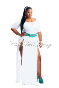 Rayon Gown Off the Shoulder with Half Sleeve in White 1x 2x 3x  Available at: http://chicandcurvy.com/newarrivals/product/10671-new-plus-size-t-shirt-dress-off-the-shoulder-with-half-sleeve-in-white-1x-2x-3x