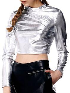 Crop Tops   Chic Satin Slimming Crop Top For Women #fashion #solid #croptops