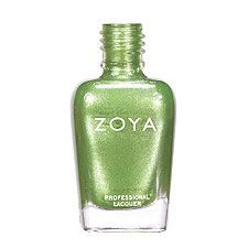 Zoya Nail Polish in Meg - Light yellow-toned mermaid green with heavy gold and silver metallic shimmer and a sparkling foil finish