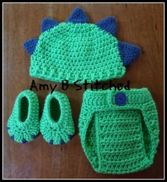 A Stitch At A Time for Amy B Stitched: Newborn DINOSAUR BABY Hat and Diaper Cover Set AND a Pattern review for Monster/Dinosaur Booties