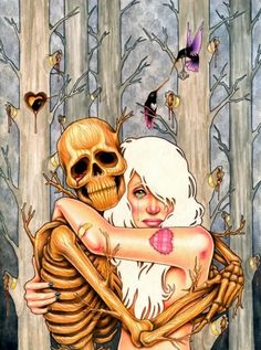 skeleton and girl