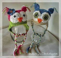 PDF Pattern Owly sooo Cute earflat hat Boy and Girl por AngelsChest
