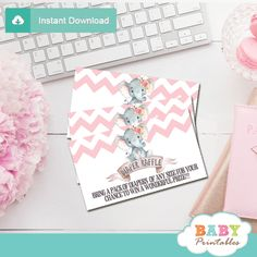 Printable Pink Chevron Elephant Diaper Raffle Tickets for a girl baby shower. The elephant diaper raffle tickets feature an adorable baby girl elephant wearing a floral bow sitting on top of a vintage ribbon banner against a white backdrop decorated with a pink chevron zigzag pattern. #babyshower #babyshowerparty #babyshowerideas4u