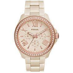 Fossil 'Cecile' Crystal Bezel Multifunction Bracelet Watch, 40mm ($285) ❤ liked on Polyvore