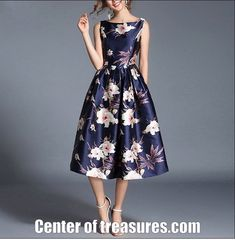 Vintage Dress O-Neck Sleeveless Floral Print A-Line – Bodycon Dress Cute Dresses For Party, Dresses For Teens, Simple Dresses, Elegant Dresses, Party Wear Dresses, Vintage Dresses, Women's Fashion Dresses, Skirt Fashion, Godmother Dress