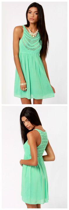 Crochet There! Mint Green Crochet Dress via lulus.com