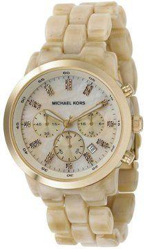 Michael Kors Women's MK5217 Oversized Horn Watch, Ivory Tone Plastic Link Quartz Chronograph Gold Tone Mother Of Pearl on shopstyle.com