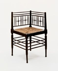 """Ford Madox Brown (1821–1893, Britain, designer), Sussex Corner Chair, ca. 1865. Ebonized oak and rush, 27 3/4"""" x 22"""" x 22"""" (70.5 x 55.9 x 55.9 cm). © The Museum of Modern Art, New York. (MOMA-D0426)"""