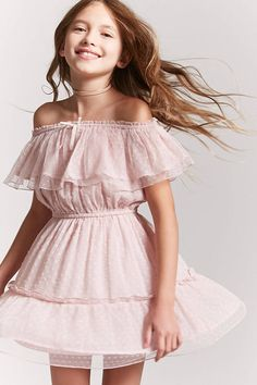 Girls Off-the-Shoulder Dress (Kids) Preteen Girls Fashion, Girls Fashion Clothes, Little Girl Fashion, Kids Fashion, Fashion Outfits, Kids Outfits Girls, Little Girl Dresses, Dresses For Teens, Girl Outfits