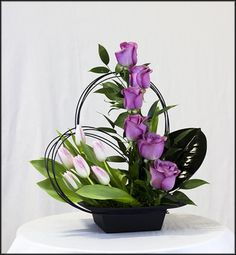 Blooming Romance Bouquet - Make an impression with this contemporary mix of roses & tulips designed to WOW your loved one! Contemporary Flower Arrangements, Tropical Flower Arrangements, Flower Arrangement Designs, Church Flower Arrangements, Church Flowers, Beautiful Flower Arrangements, Funeral Flowers, Flower Designs, Beautiful Flowers