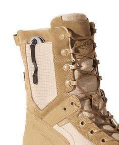 Tactical RECON desert boot with inbuilt knife pocket Tactical Wear, Tactical Clothing, Tactical Survival, Survival Gear, Survival Equipment, Tactical Pants, Survival Knife, Survival Prepping, Police Gear