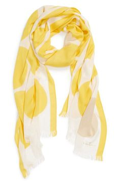 The perfect spring accessory - bright yellow polka dot scarf.