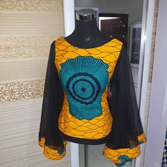 Fitted Ankara Blouse with full bell sleeves Ankara Tops Blouses, African Blouses, Ankara Blouse, African Tops, African Women, Ankara Skirt, Ankara Gowns, African Print Dresses, African Print Fashion