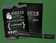Surprise 30th Birthday Party Invitations... Brewery and Chalk Themed.