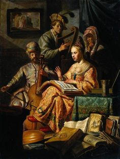 "MUSICAL ALLEGORY (CONCERTO DI MUSICI IN COSTUME ) (CONCERTO IN ABITI ORIENTALI ). 1626. olio su tavola.  63,4 × 47,6 cm. Signed and dated"" RH 1 (6)26"""