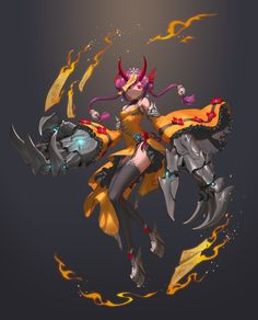 Fantasy Character Design, Character Concept, Character Art, Concept Art, Fantasy Warrior, Fantasy Girl, Sci Fi Anime, Cyberpunk Character, Demon Girl