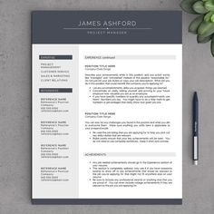 modern resume template for word 1 2 page by landeddesignstudio