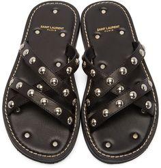 Saint Laurent Black Studded Nu Pied Sandals