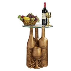 Wine and Dine Sculptural Glass-Topped Table, Design Toscano Glass End Tables, Glass Table, Wine Table, Small Tables, Wine Bottle Crafts, Bottle Art, Wine Bottles, Wine Decanter, Mothers Day Crafts For Kids