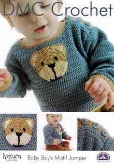 DMC Crochet pattern , Baby Boys Teddy Motif Jumper ,Sweater Pattern designed by Claire Crompton, baby crochet, childs sweater Crochet Baby Sweaters, Crochet Baby Clothes, Baby Knitting, Crochet Baby Poncho, Crochet Jacket, Knit Crochet, Crochet Hats, Baby Patterns, Knitting Patterns