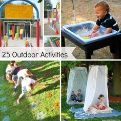 25 Outside Activities for Kids. These are unique to the ones I've seen all over Pinterest. Here are some wonderful ideas!