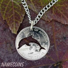 Dolphin Ocean Quarter hand cut coin by NameCoins on Etsy, $22.49