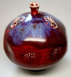 Tom Turner reduction flambe copper red timeless studio art pottery vessel