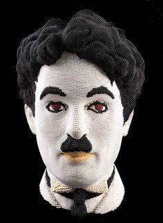 Matchstick Sculptures by David Mach - Charlie Chaplin, made entirely of matchsticks!