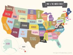 Printable map of the USA for all your geography activities. Choose from the colorful illustrated map, the blank map to color in, with the 50 states names Mr Printables, Us Map Printable, Playroom Printables, Design Thinking, Nevada, Design Ios, Maps For Kids, California Map, United States Map