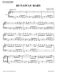 runaway baby free sheet music